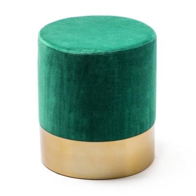 Pouf Xavo en velours vert