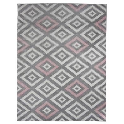 Tapis de salon scandinave TAVLA rose pastel, gris et blanc 160 x 230 cm