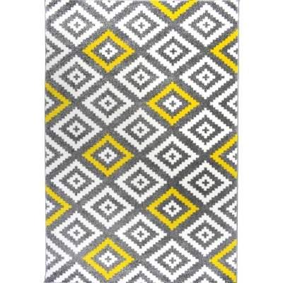 FORSA LOSANGE Tapis de salon scandinave en polypropylène - 160 x 230 cm - jaune