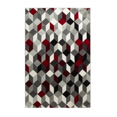 CARA Tapis de salon multicolore - 160 x 230 cm - rouge