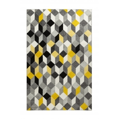 CARA Tapis de salon multicolore - 160 x 230 cm - jaune