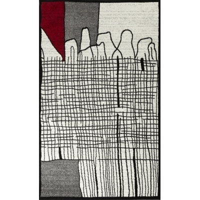 CALI Tapis de salon graphique - 160 x 230 cm - rouge