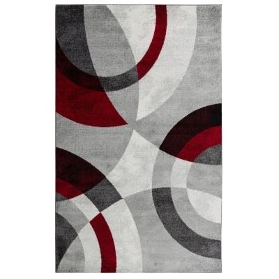 ANTA Tapis de salon contemporain - 160 X 230 cm - rouge