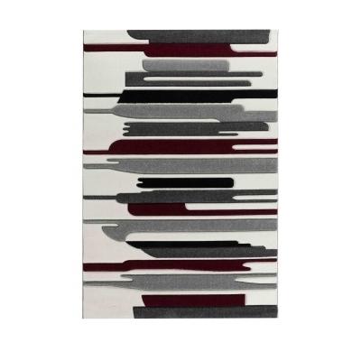 URBA Tapis de salon à effet relief - 160 x 230 cm - rouge