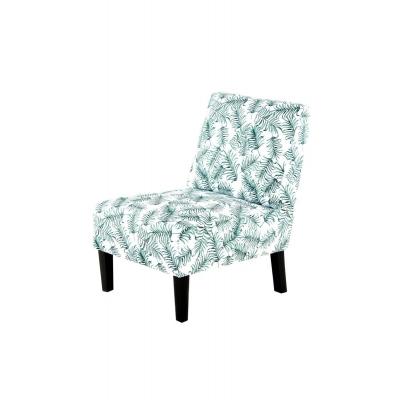 INDIRA Fauteuil tissu motif végétal vert et blanc