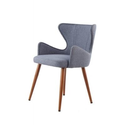 ELWIN 2 chaises contemporaines revêtues d'un tissu bleu