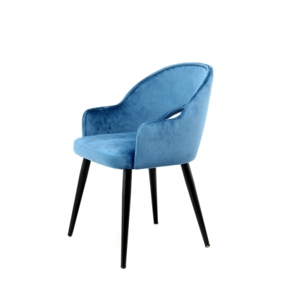 JORIS 2 fauteuils bridge en velours bleu