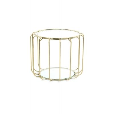 SHIRLEY Table d'appoint en fil métallique doré avec plateau en verre