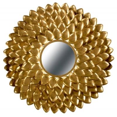 DAPHNE Grand miroir rond avec entourage en relief sur métal doré