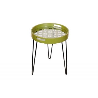 RIVER Table d'appoint ronde avec plateau en bois et pieds métalliques - Vert Olive