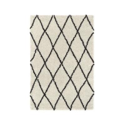 SHAMA 450 Grand tapis de salon Shaggy - 160x230 cm - crème