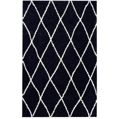 SHAMA 450 Tapis de salon Shaggy - 120x160 cm - noir