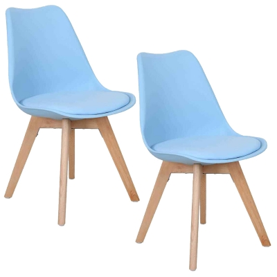 koton 2 chaises style scandinave vista bleues - Chaise Style Scandinave