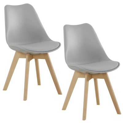 koton 2 chaises style scandinave vista grises - Chaise Style Scandinave