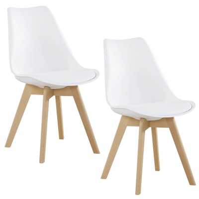 koton 2 chaises style scandinave vista blanches - Chaise Style Scandinave