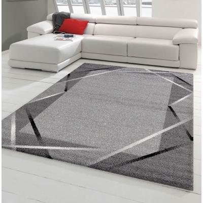 Tapis de salon Santana gris, noir, blanc 60x110cm