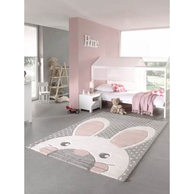 Tapis Chambre Enfant Lapin Gris pastel 120x170cm