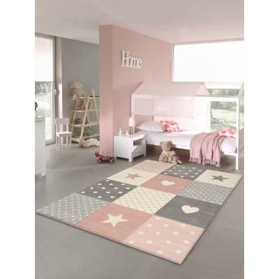 KOTON - Tapis chambre enfant Etoiles Rose pastel 120x170cm