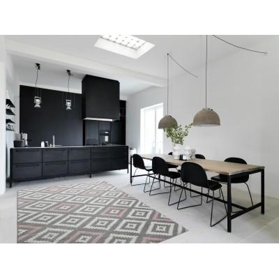 Koton tapis de salon scandinave tavla rose pastel gris et blanc 160 x 230 cm - Tapis salon scandinave ...