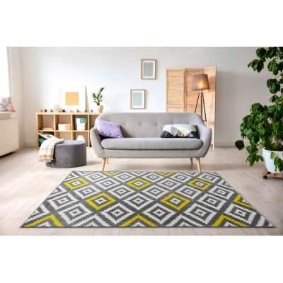 forsa losange tapis de salon scandinave en polypropylene 120 x 160 cm jaune