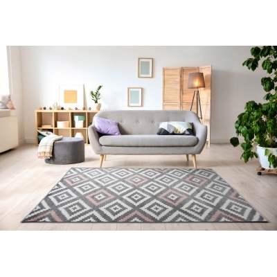 KOTON - Tapis de salon scandinave TAVLA rose pastel, gris et blanc ...