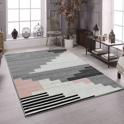 KOTON - PINTA Grand tapis de salon contemporain - 200 x 280 cm - rose