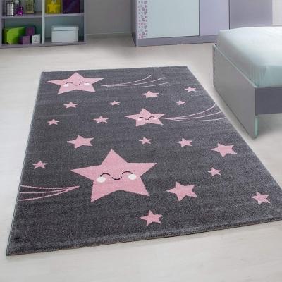 STELLA - Tapis chambre enfant - 160 X 230 cm - rose et gris